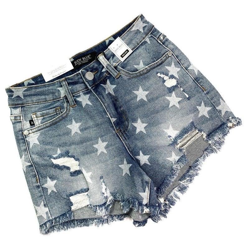 PLUS/REG Judy Blue Seeing Stars Cut Off Stretchy Shorts