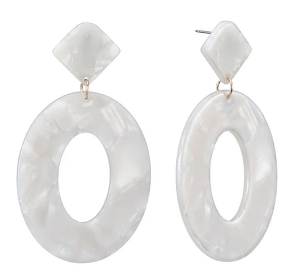 Ivory Acrylic Drop Earrings