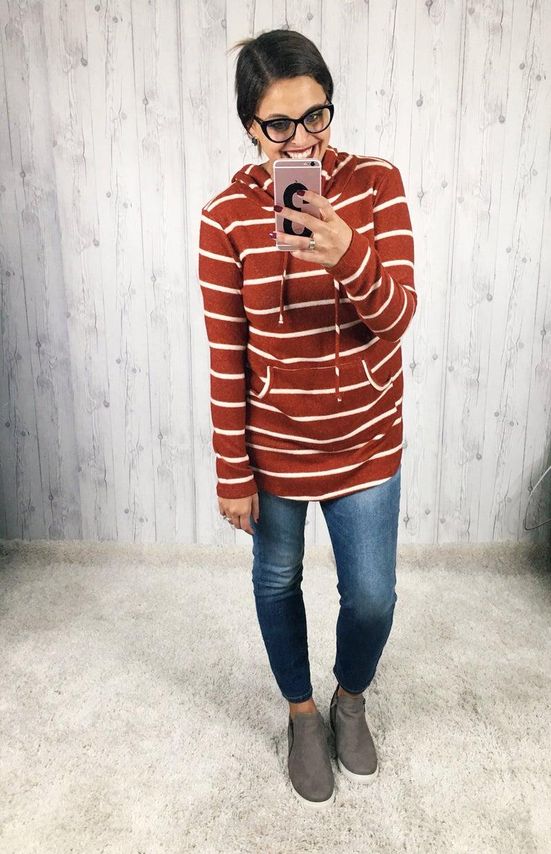 PLUS/REG Striped Super Soft Lightweight Hoodie
