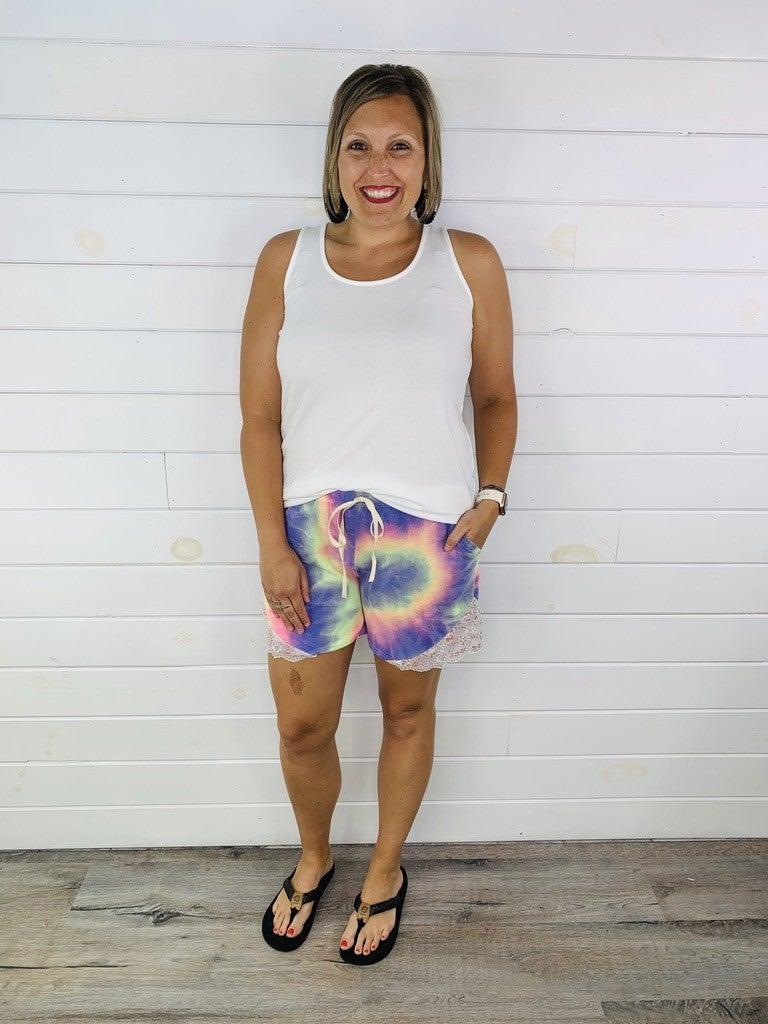 Plus/Reg Tie Dye Shorts with Lace Sides - 2 Colors!