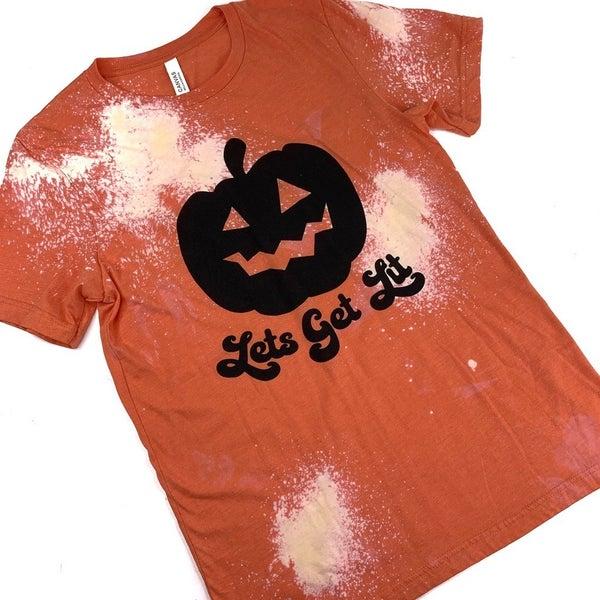 Let's Get Lit Bleach Dyed Pumpkin T-Shirt