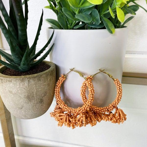 Peach Bead Dangle Hoop Earrings