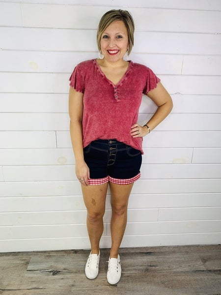 PLUS/REG Judy Blue Red Gingham Cuffed Shorts