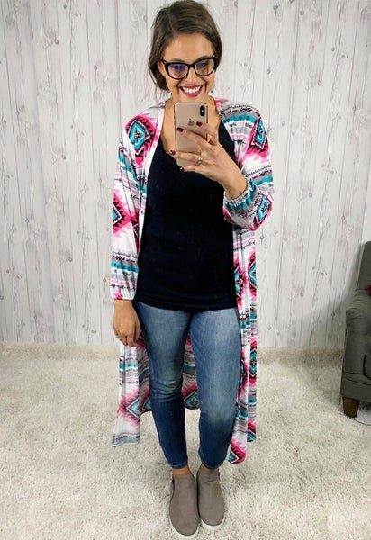 Slinky Aztec Cardi with Balloon Sleeves