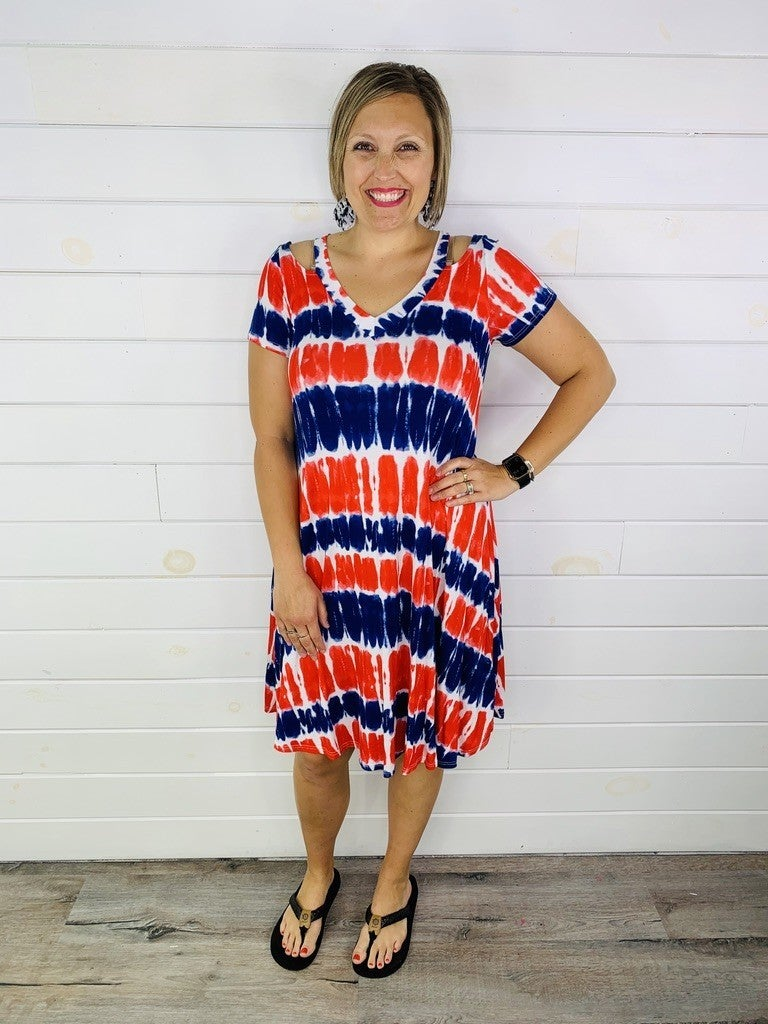 Red, White, and Blue Tie Dye Midi Dress