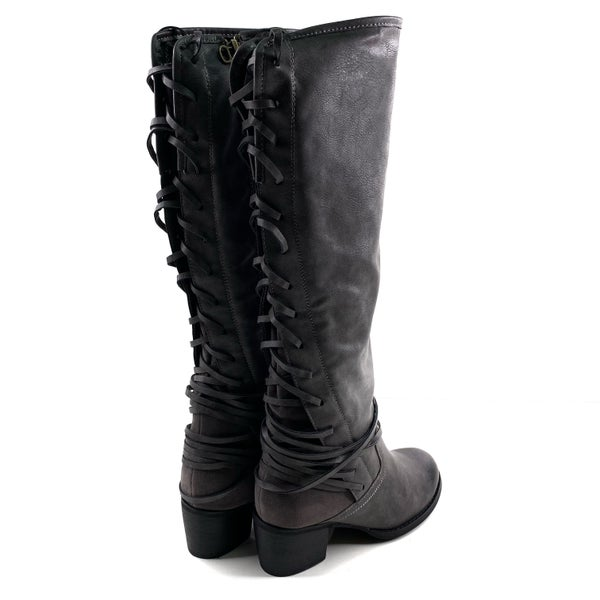 Corky's Grey Knee High Lace Up Boots