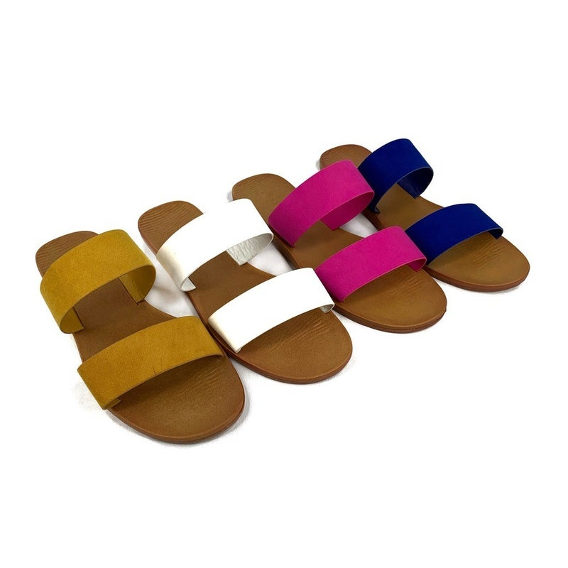 DOORBUSTER Double Band Slide Faux Suede - 4 COLORS!