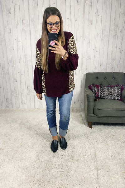 PLUS/REG Honeyme Wine Waffle Knit Top with Leopard Print Balloon Sleeves