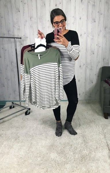 DAILY DEAL! Flowy Long Sleeve Shirt with Elbow Patch