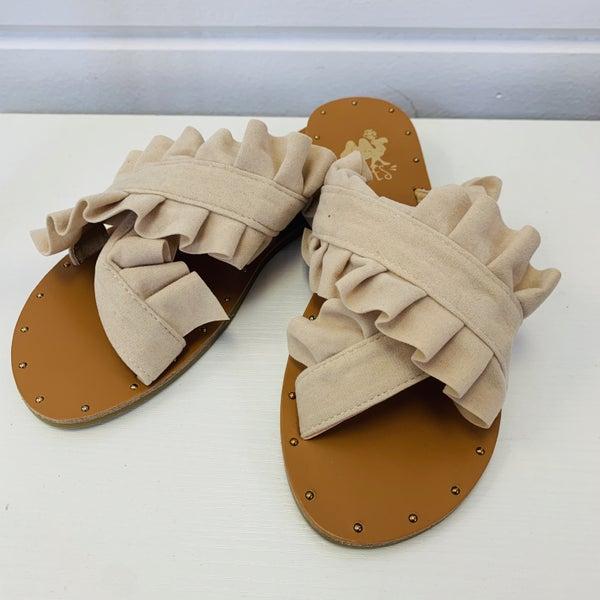 Ruffle Strap Slip On Sandal
