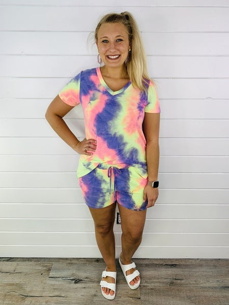 Plus/Reg HoneyMe Rainbow Tie Dye Lounge Shorts