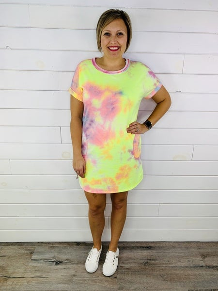 PLUS/REG HoneyMe French Terry Bright Tie Dye Dress With Pockets!