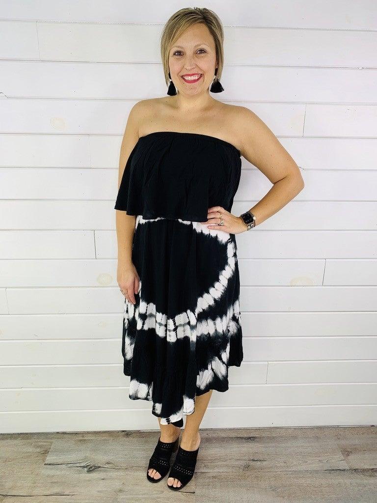 Black Tie Dye Off Shoulder Midi Dress