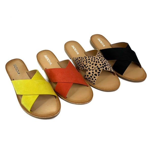 DOORBUSTER Cross Strap Slip On Sandals