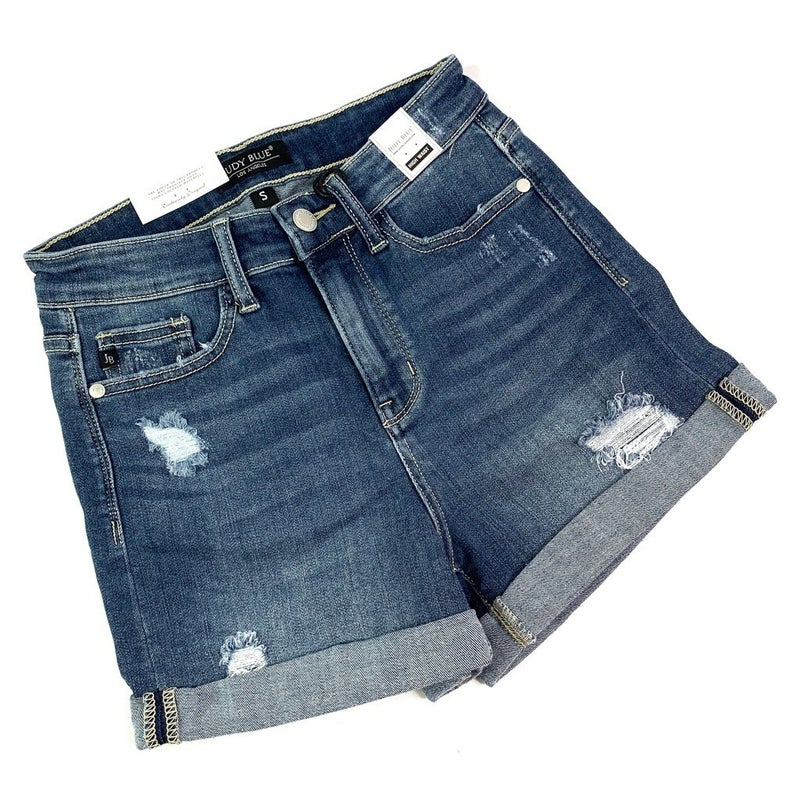 PLUS/REG Judy Blue Dreaming of Summer Cuffed Shorts