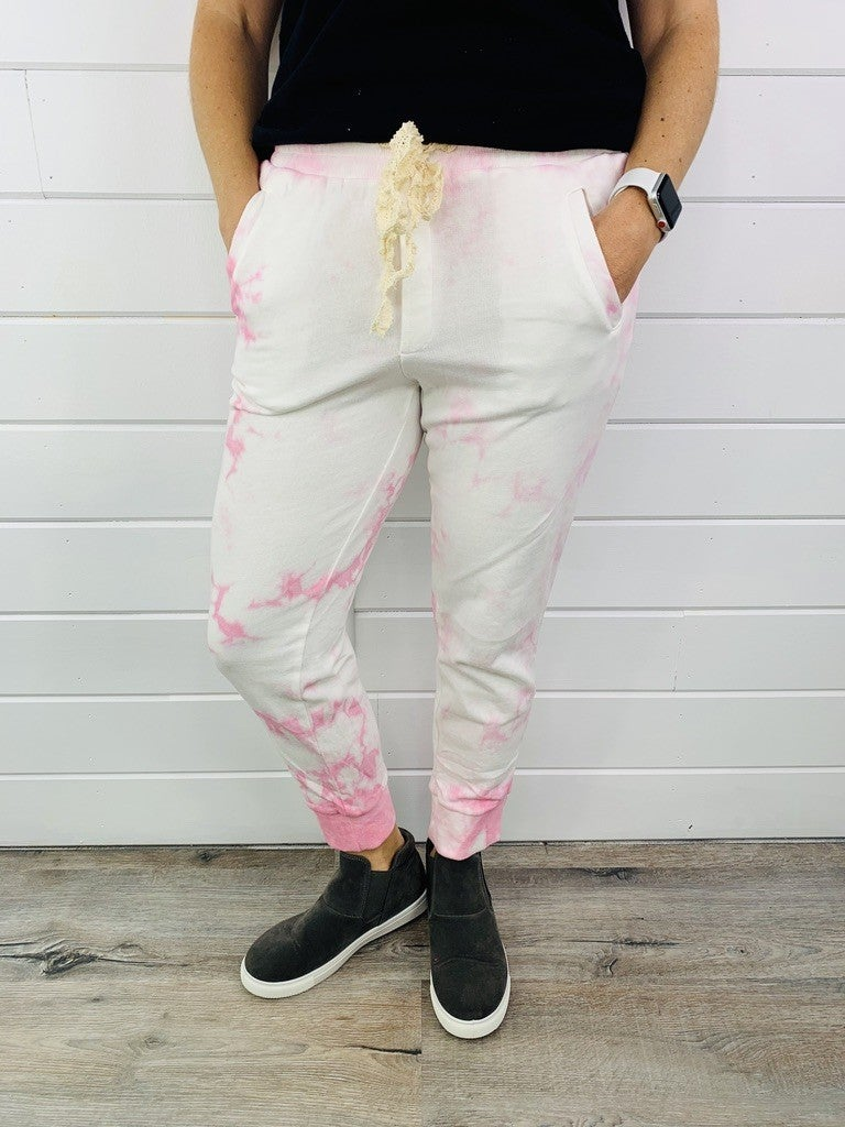 POL Tie Dye Lace Jogger with Lace Drawstring