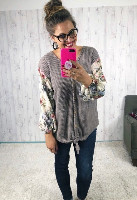 HoneyMe Plus/Reg Tie Front Waffleknit Top with Floral Balloon Sleeves