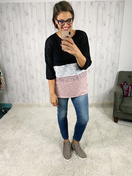 Lightweight Color Block Sweater