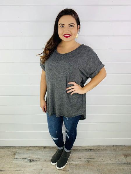 Easel Mid Grey Soft Light Short Sleeve Hi Low Hem Knit Tunic Top