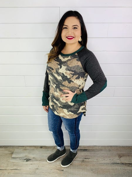 PLUS/REG Camo Top with Elbow Patches