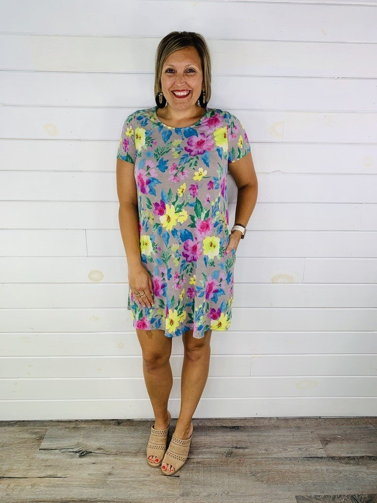 PLUS/REG HoneyMe Grey and Bright Floral Dress