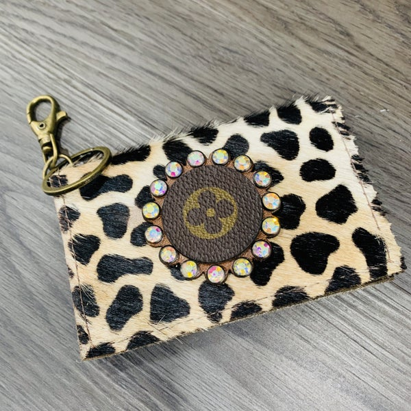 Authentic Upcycled LV Animal Print Credit Card Case With Iridescent Rhinestones