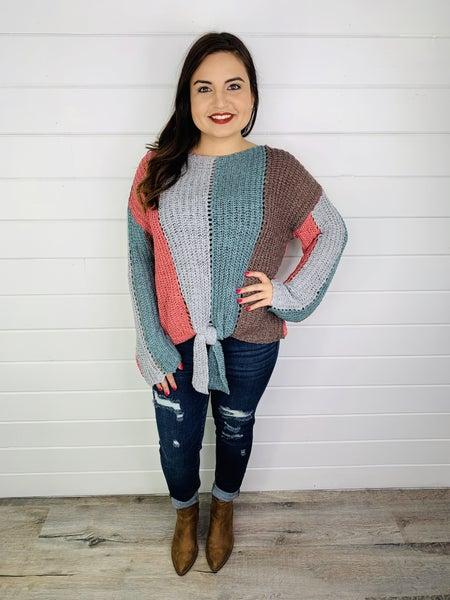 PLUS/REG Bell Sleeve Tie Front Sweater
