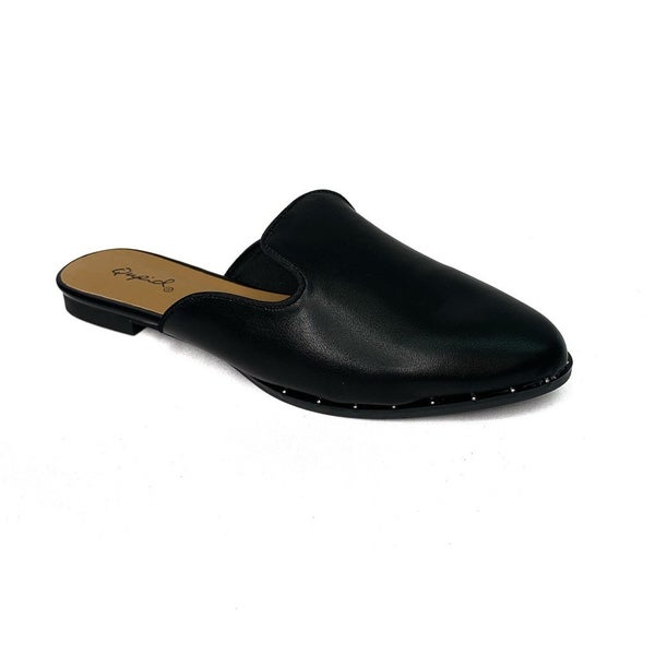 Black Slip On Mules