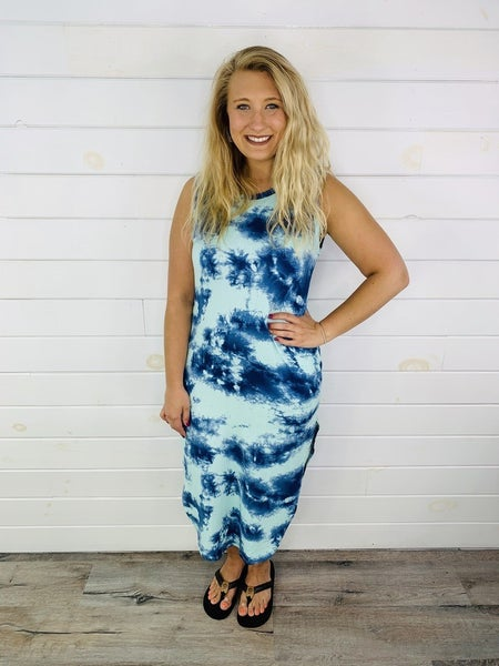 PLUS/REG Mint and Blue Tie Dye Midi Dress