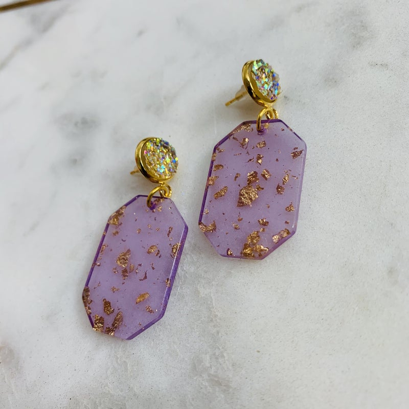 Purple And Gold Acrylic Earrings