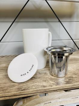 Delia™ Good Morning Gorgeous Tea Mug & Infuser Pinky Up®