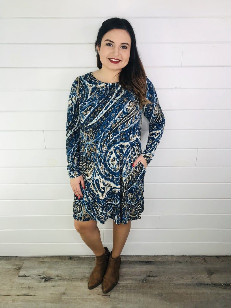 PLUS/REG Honeyme Paisley Swing Dress with Pockets
