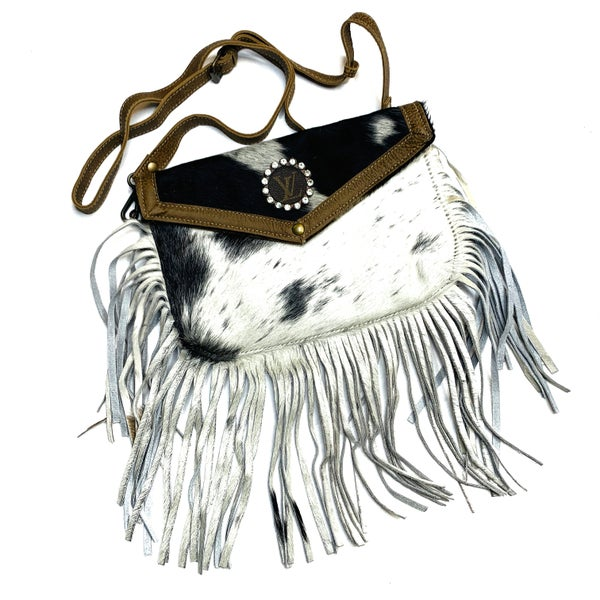 Authentic Upcycled LV Cow Handbag With Fringe