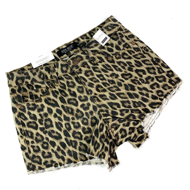 PLUS/REG Judy Blue Leopard Cut Off Shorts