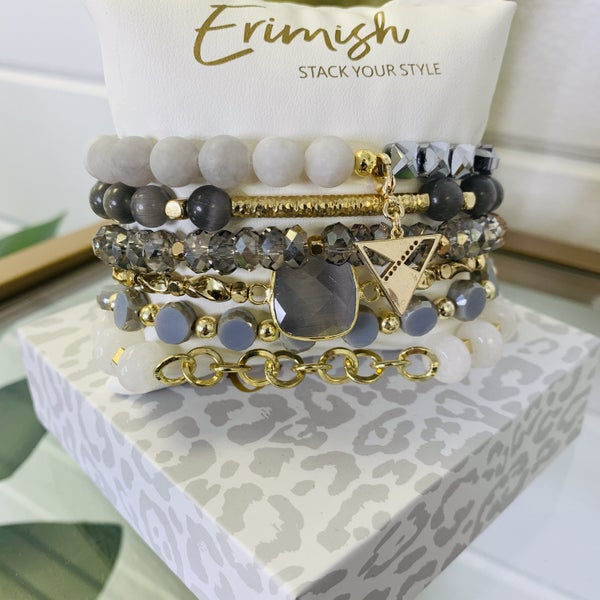 Erimish Grey And Gold Stack Bracelet With Box- 2 Sizes!
