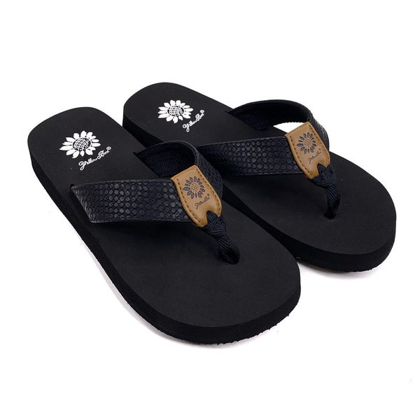Yellowbox Black Woven Flip Flop
