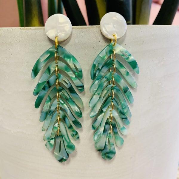 RESTOCK!! Miami Palm Leaf earrings