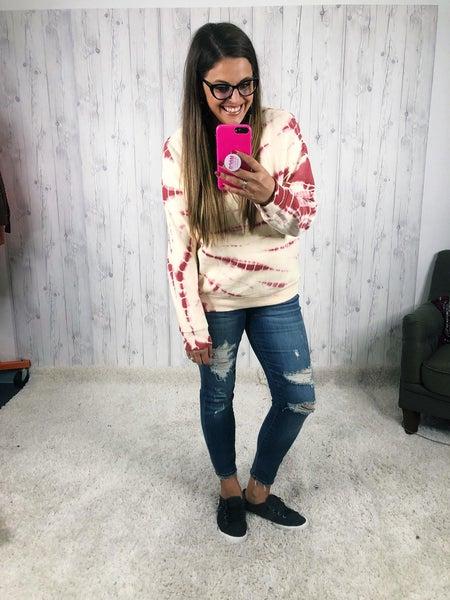Easel Berries and Cream Splatter Lined Fleece Sweatshirt