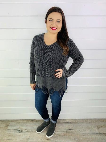 Plus/Reg V-Neck Cable Knit Sweater with Fray Hem