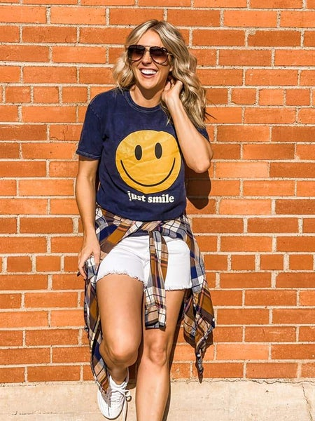 PREORDER Plus/Reg Just Smile Mineral Washed Tee