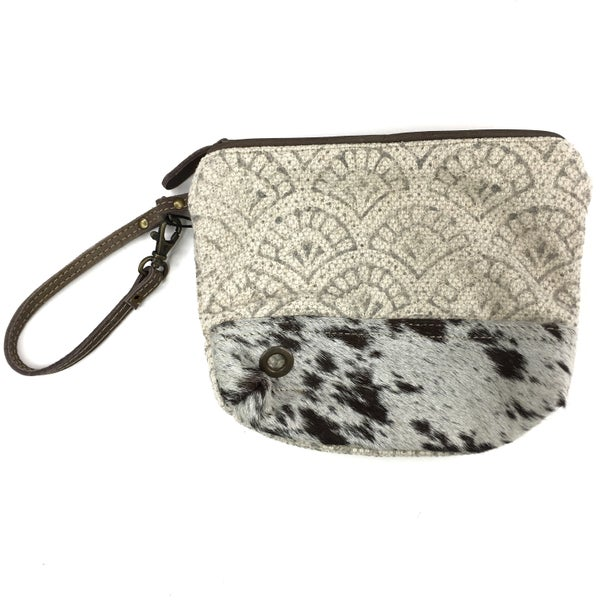 Myra Bag Ivory Seashell Fur Wristlet