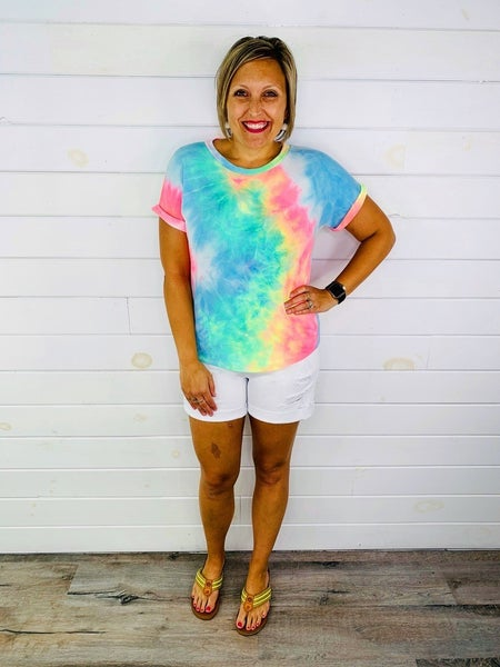 Plus/Reg Judy Blue White Ray of Sun White Shorts