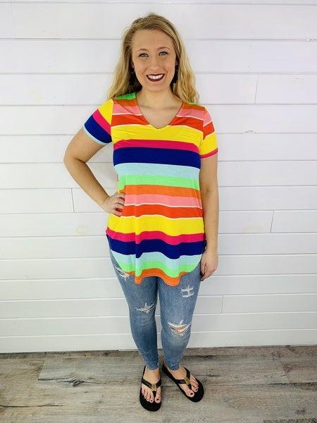 PLUS/REG HoneyMe Rainbow Stripe Flowy Short Sleeve Top