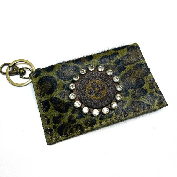 Authentic Upcycled LV Green Cheetah Credit Card Case