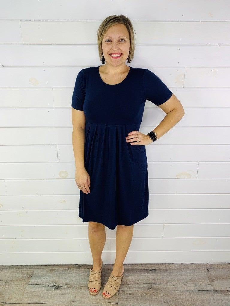 DOORBUSTER Plus/Reg Short Sleeve Dress with Pockets--4 Colors!