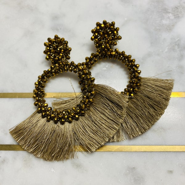 Gold Tassel And Glass Bead Earrings