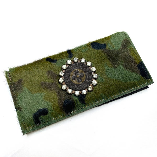 Authentic Upcycled LV Camo Checkbook Case With Clear Rhinestones