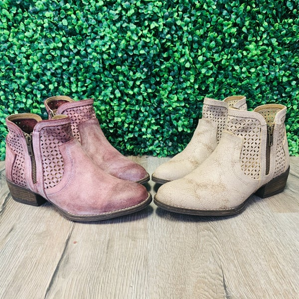 Corky's Real Leather Laser Cut Booties--2 colors!