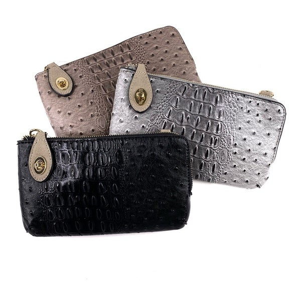 Vegan Gator Clutch with Interchangeable Straps