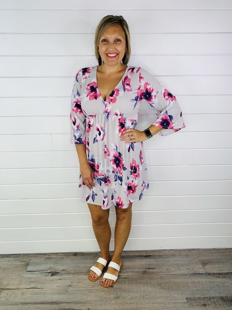 Grey and Pink Floral 3/4 Bell Sleeve Dress